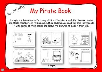 Pirate book: A simple and fun resource for young children. Includes a book that is easy to copy and staple together….no folding and cutting. Children can read the book, personalize it with names of their choice and color the pictures to make it their own.