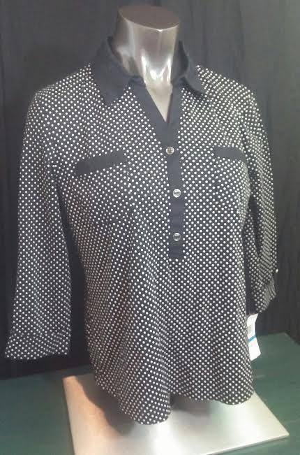 Karen Scott Petites womens shirt blouse NWT black white polka dots cotton PXL #KarenScott #Blouse #Casual