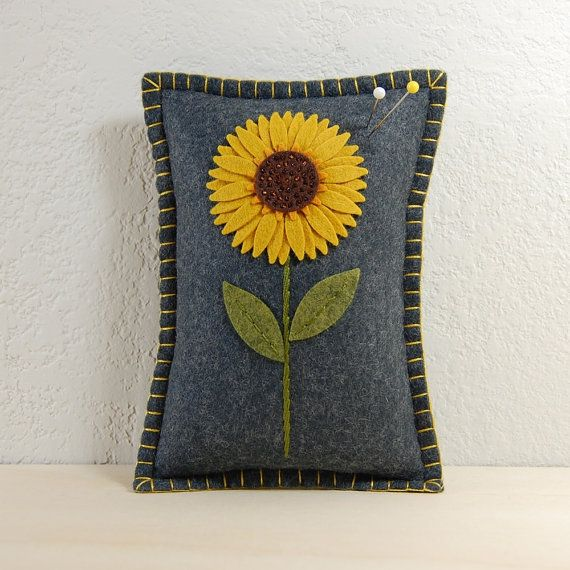 Sunflower Pincushion / Small Pillow Hand by TheBlueDaisy on Etsy