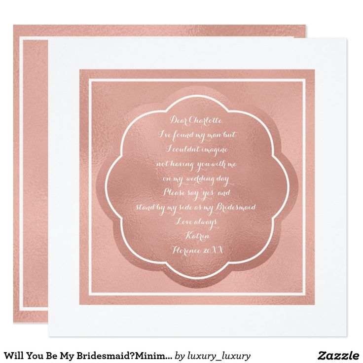 Will You Be My Bridesmaid?Minimal Pink Rose Powder 13 Cm X 13 Cm Square Invitation Card