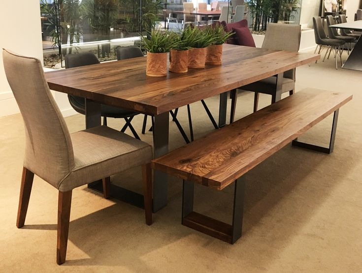 Solid Walnut Dining Table With Metal Legs For A Industrial Look Check It Out TableDining TablesOntarioTorontoIndustrial