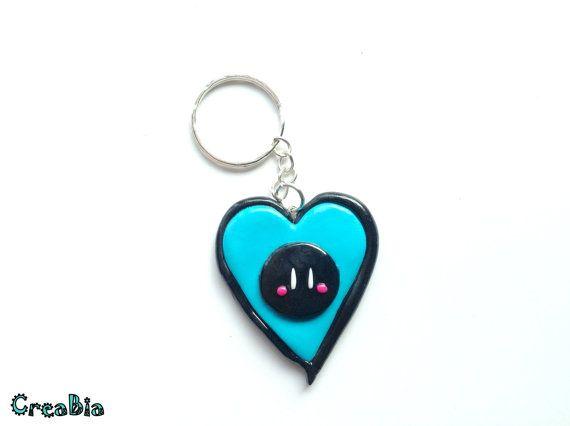 Clannad Anime Dango Keychain in Black & Blue Blue Heart by CreaBia