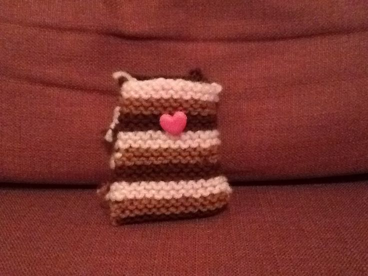 Hand knitted phone pouch