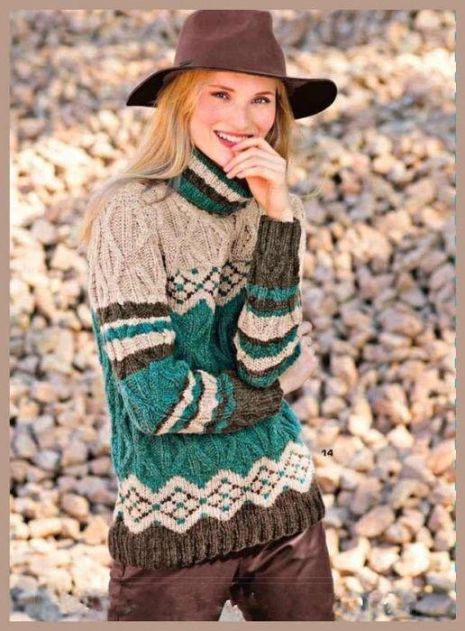 Озорные петельки: Пуловер с узором из ромбов и жаккардовым узором