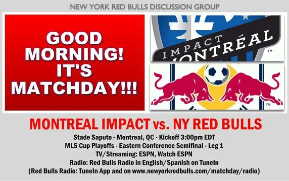 Looking forward to the Red Bulls game today. You can join this Facebook group for #RBNY discussions. #MTLvNY #MLSCupPlayoffs
