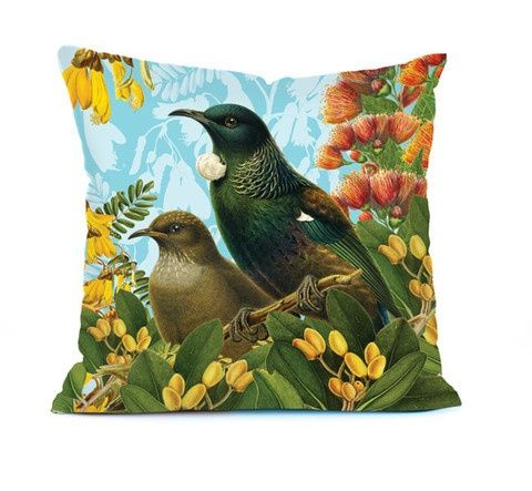 Botanical Bird Cushions - NZ Native bird, the Tui