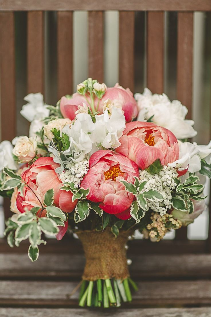 Bridal Bouquet. Maggie Bride Ali wore Chesney by Maggie Sottero at her Rustic Barn Wedding with Pops of Coral | Benjamin Stuart Photography