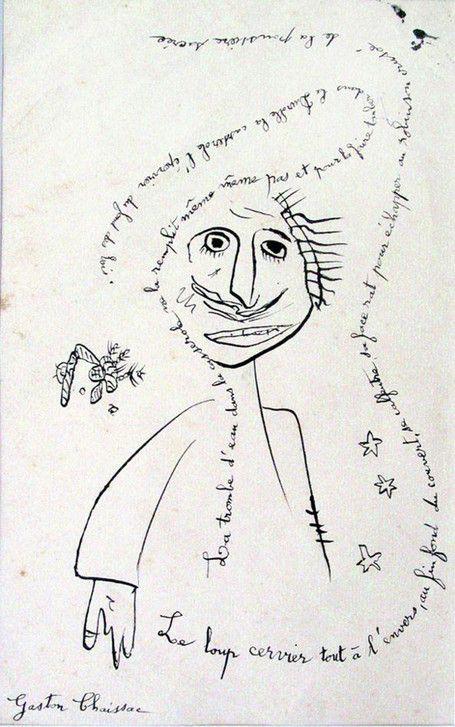 * Gaston Chaissac - Le Loup-cervier, encre de Chine sur papier, 1959. - © Collection musée de l'Abbaye Sainte-Croix, Les Sables d'Olonne