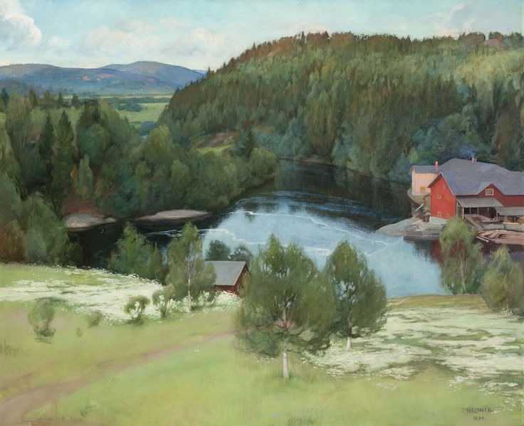 Pekka Halonen (1865-1933) Myllykylän sawmill 1899 - Finland - In the parish of Sortavala, in the part of Karelia ceded to the Soviet Union after WWII