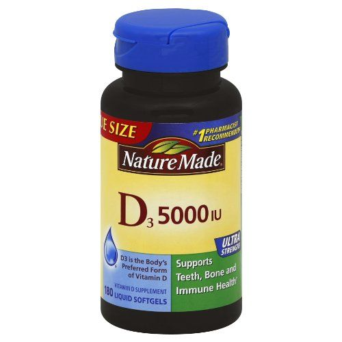 Nature Made Vitamin D3 5000 IU,180 Softgels ** For more information, visit image link.