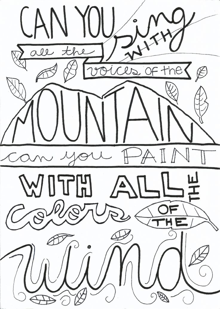 """Colours of the wind"", hand lettering Pocahontas quote"