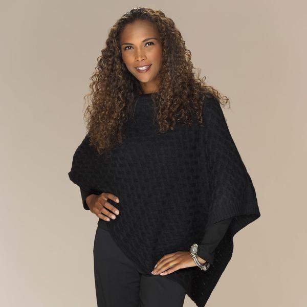 Katia baby alpaca basket stitch poncho black