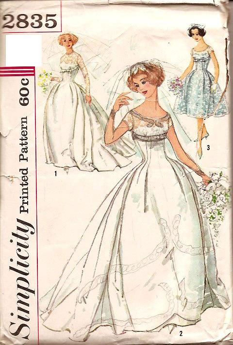 Vintage 50s 1950s Wedding Dress Pattern Simplicity 2835