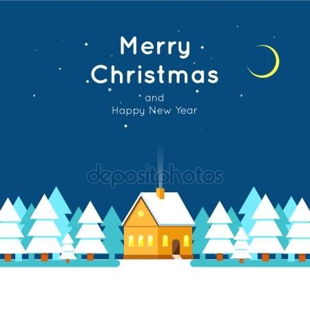 Merry Christmas and Happy New Year greeting card templates. Poster, banner, card, sticker. Flat design.