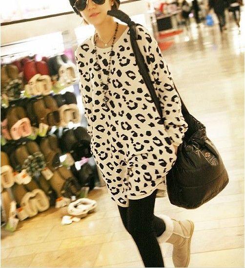 2013 autumn women's fashion sexy loose medium-long 100% cotton o-neck leopard print sweatshirt pullover $15.29