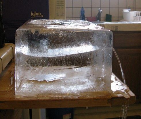 Large ice block can be made with an igloo cooler and a large freezer.