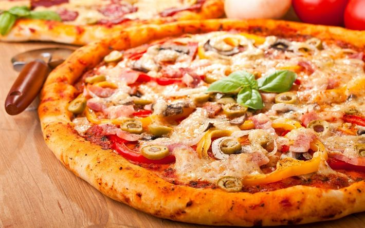 Download wallpapers pizza, fastfood, close-up, italian dishes