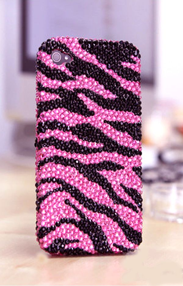 Pink and Black Zebra Design Protective iPhone 4s Cases Bling