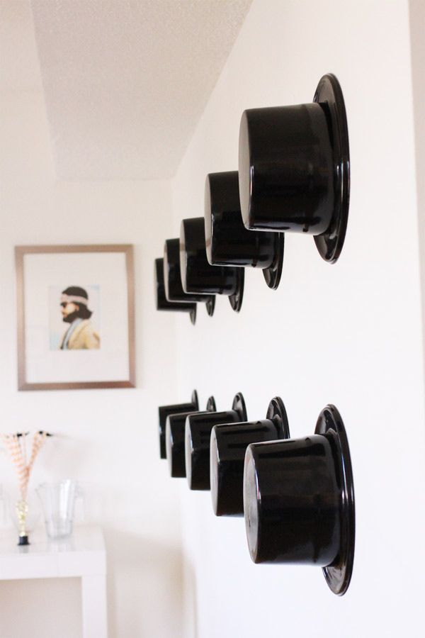 Cute idea for an Awards Show Party via www.KellyGolightly.com -- top hats as decor! #oscarparty #diy #oscars