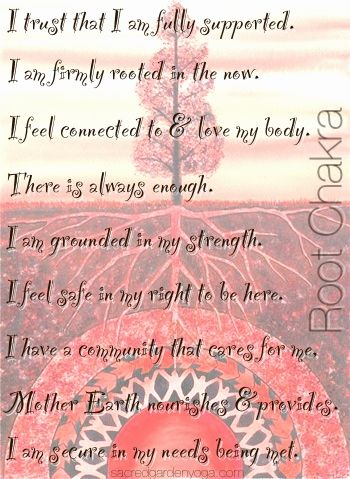 Root Chakra- Muladhara Affirmations - loved & pinned by www.omved.com