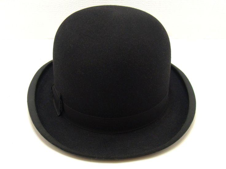Old black bowler hat - Vintage Scott London-old derby hat-vintage businessman hat-old  vaudeville hat-Scott's  felt hat 6 7/8 by BECKSRELICS on Etsy