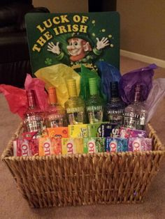 Rainbow vodka basket my sister and I made for a fundraiser to auction off