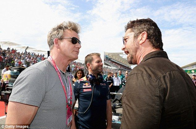 Butler (right) talks chats with chef Gordon Ramsey (left) at the Circuit of the Americas