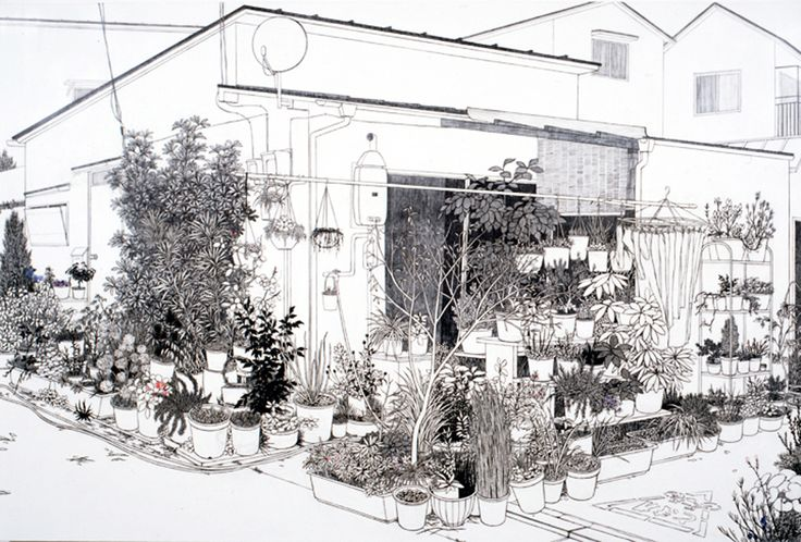Yukiko Suto, Potted Plants and House - Fukazawa, 2008, Oil, pencil and plaster on canvas mounted on panel  130.5 x 194.5 cm