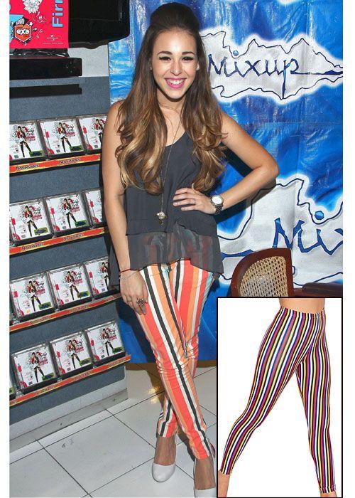 DANNA PAOLA  Sigue el estilo moderno de la actriz y cantante mexicana con estos leggings con estampado a rayas multicolor de American Apparel, que cuestan $48.
