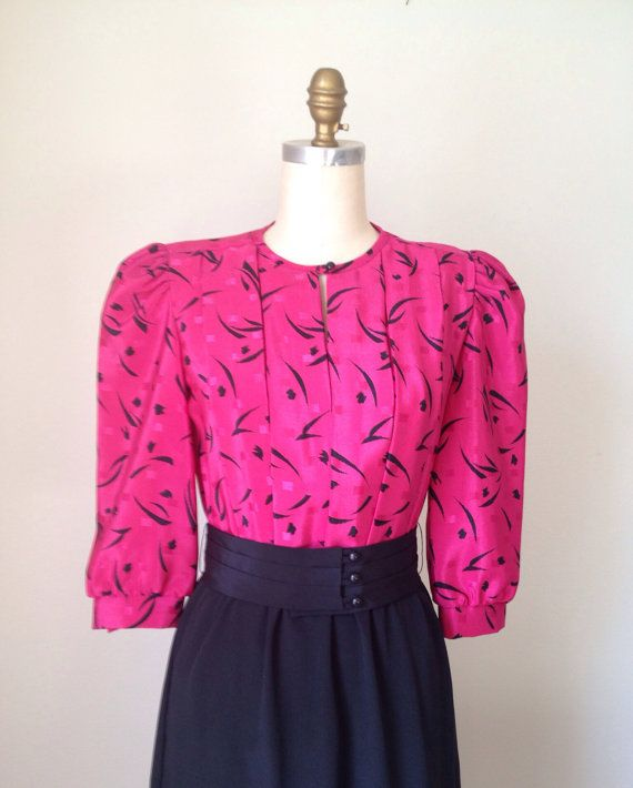 Fuchsia & Black Secretary Dress Vintage Hot Pink and Black Blouson dress knee length Petite party Dress size 8 Abstract print top on Etsy, $40.00