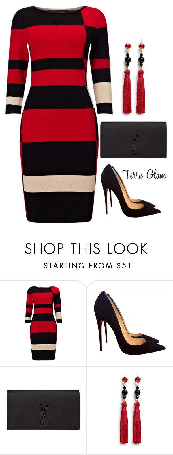 """Red & Black Delight"" by terra-glam ❤ liked on Polyvore featuring Phase Eight, Christian Louboutin, Yves Saint Laurent and Kenneth Jay Lane"