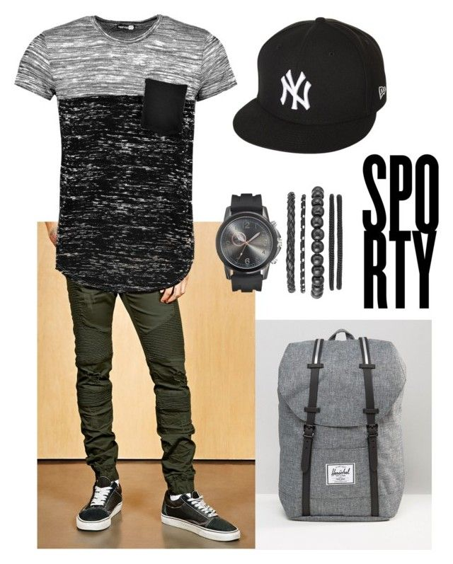 """""""Fly guy"""" by miztrinity on Polyvore featuring Herschel Supply Co., 21 Men, Boohoo, New Era, men's fashion and menswear"""