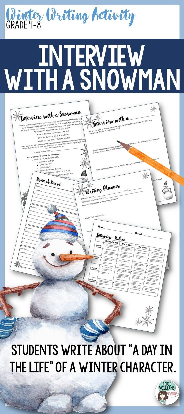 Winter Writing Activity - ask your students to imagine a day in the life of a winter character! Fun and engaging writing resource!