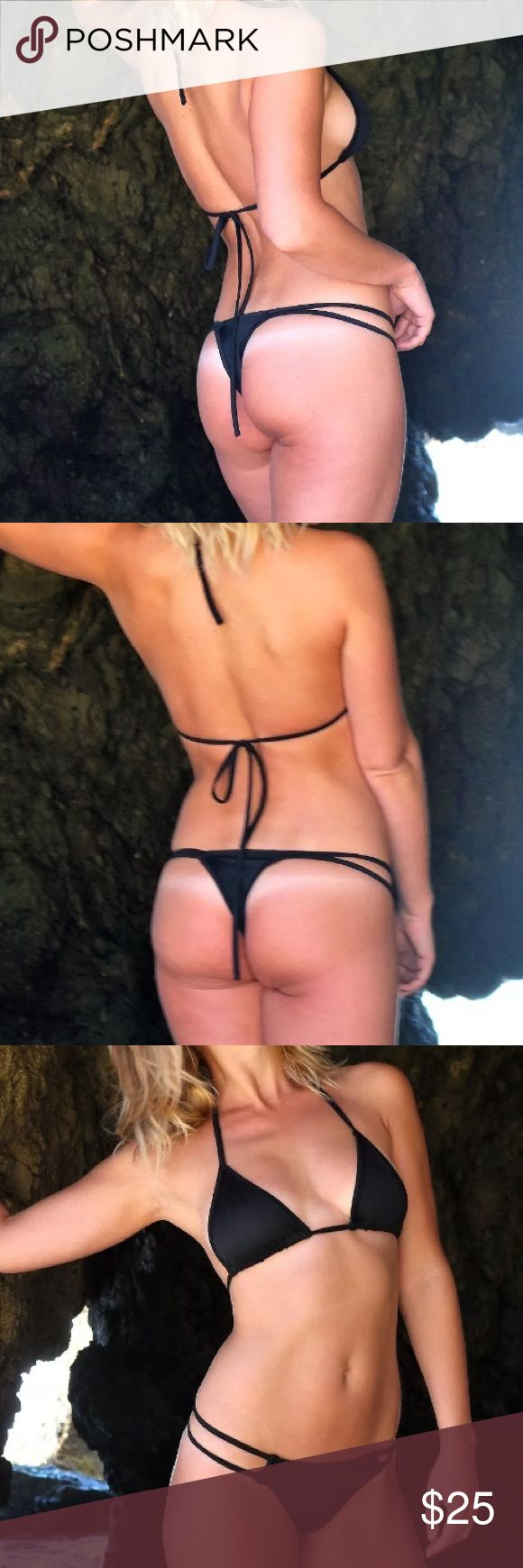"Micro bikini black bikini thong bikini tiny bikini These are classic black micro bikini sets.   They are ""free size,""   Bust: 34"" - 37"" Waist: 24.5"" - 30"" Hip: 34.5"" - 39""  Follow us on Instagram: www.instagram.com/sassy.cool/  SHIPPING  This item is ready to ship within 1-2 business days from the time the order is placed. Swim Bikinis"
