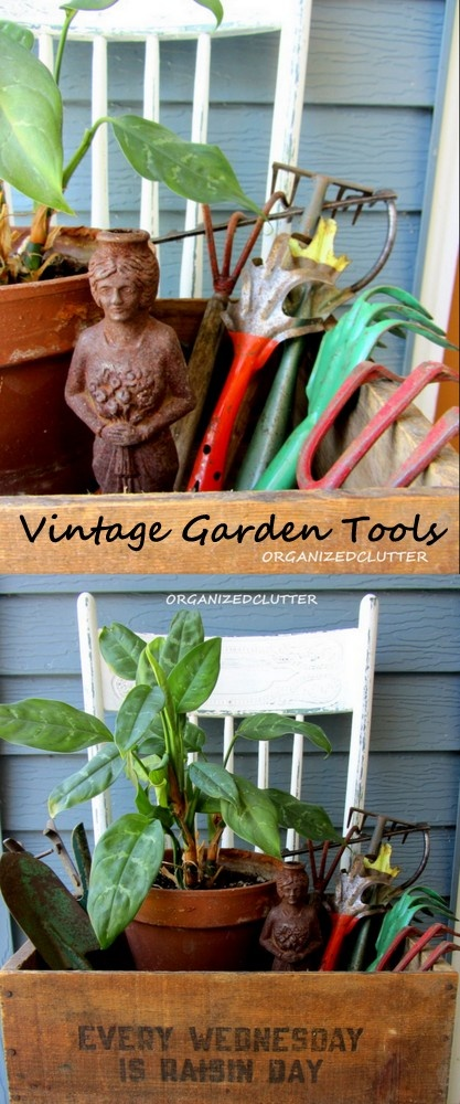 Vintage Garden Tool Display - place potted plant in old crate and add vintage tools