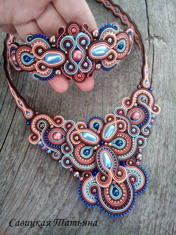 Soutache Statement Set Soutache Colorful by MagicalSoutache                                                                                                                                                                                 Más