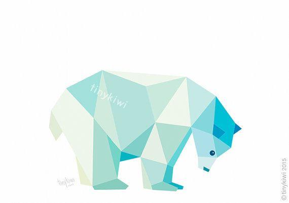 Ours polaire Arctique.    •• Ce EST  Une impression à jet dencre de qualité de mon dessin géométrique originale.    •• UN SEUL  Cet imprimé