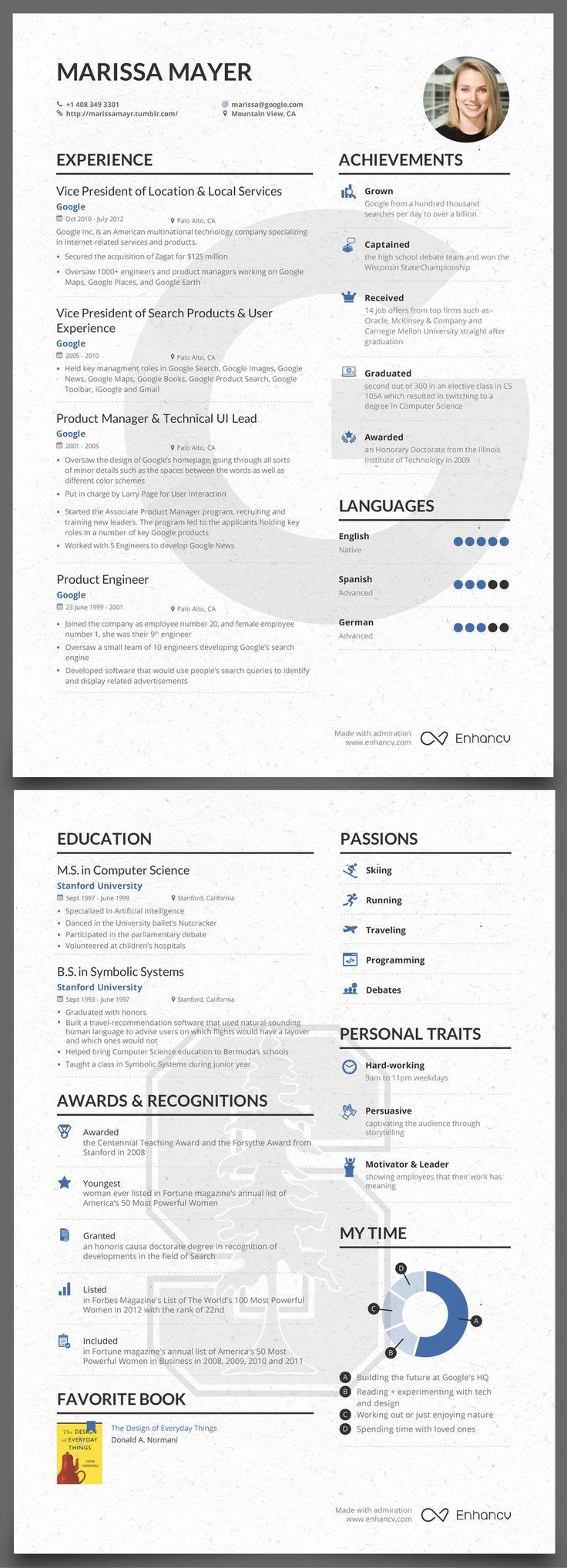 Marissa Mayer CV Resume writing examples, Teaching
