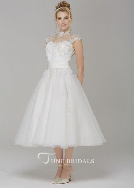 73fbaf90f2e A-Line High Neck Cap-Sleeve Tea-Length Tulle Wedding Dress With Appliques  And Illusion in 2019