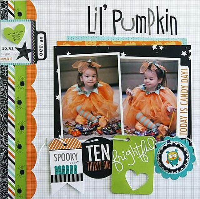 Free Halloween Scrapbooking Ideas and Patterns: Lil' Pumpkin Page Idea Using Tag Garland