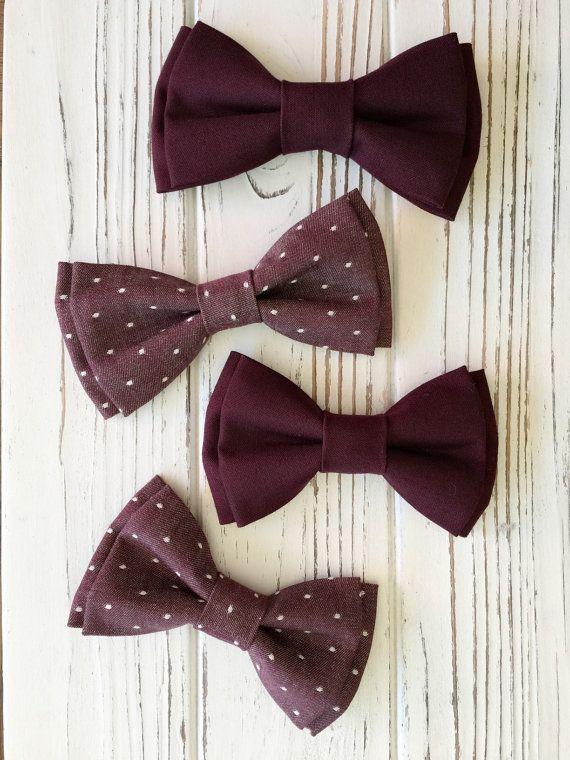 Burgundy cotton bowtie - Groomsmen bowtie - Ring bearer's bowtie - Burgundy bowties - wedding bowties-pre tied bowtie - Daddy and son bowtie