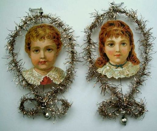 2 Antique Tinsel Frames with Boy and Girl Head Scraps - Christmas Ornaments.