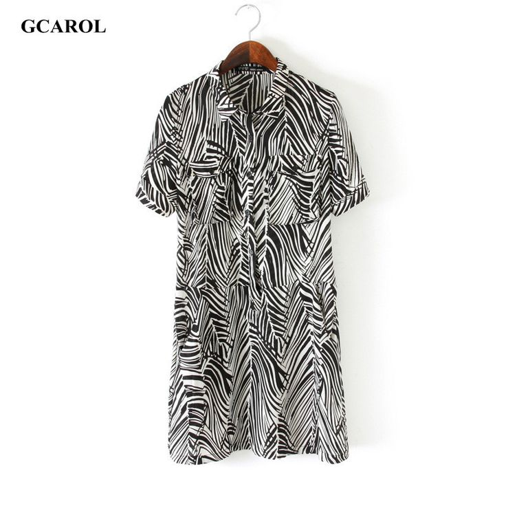 Women Zebra Design Chiffon Dress OL Fashion Shirt Dress Summer Spring Elegant Euro Style Dress