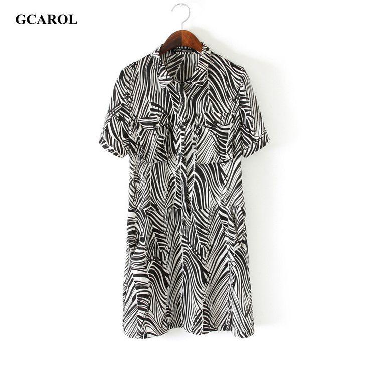 Women Zebra Design Chiffon Dress OL Fashion Shirt Dress Summer Spring Elegant Euro Style Dress