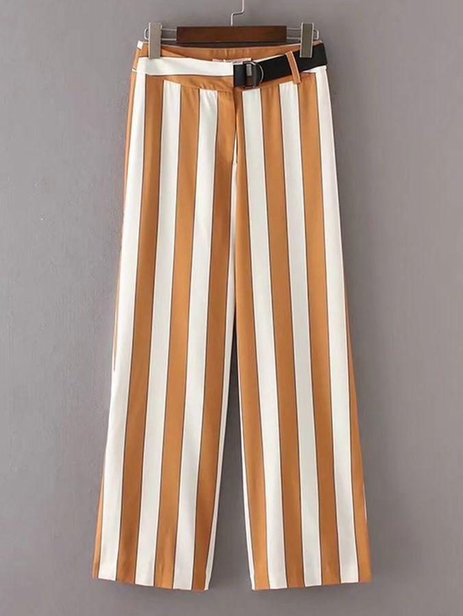 Shein Block Striped Ring Belt Straight Pants