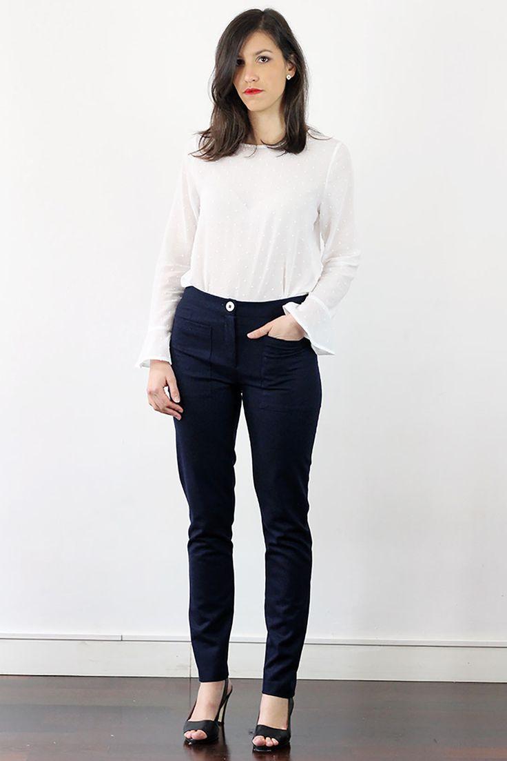 Pantalon flanelle femme coupe droit bleu chiné ATODE - Made in France