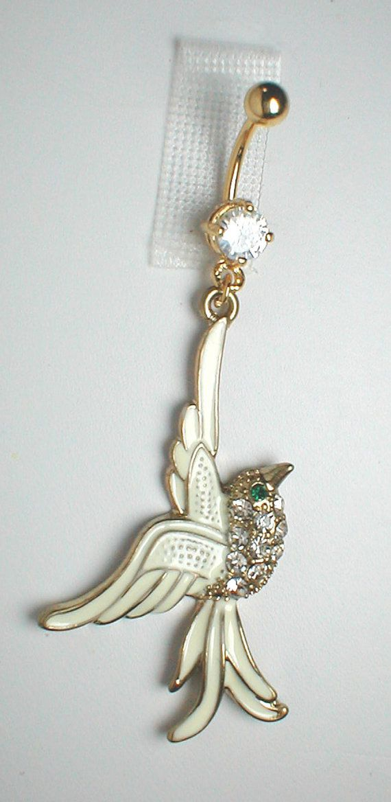 Unique Belly Ring Trendy Fancy White Bird by pondgazer2004, $10.95