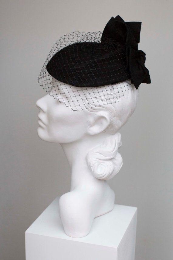 Cocktail Hat with Veil Wool Felt Vintage Style Custom