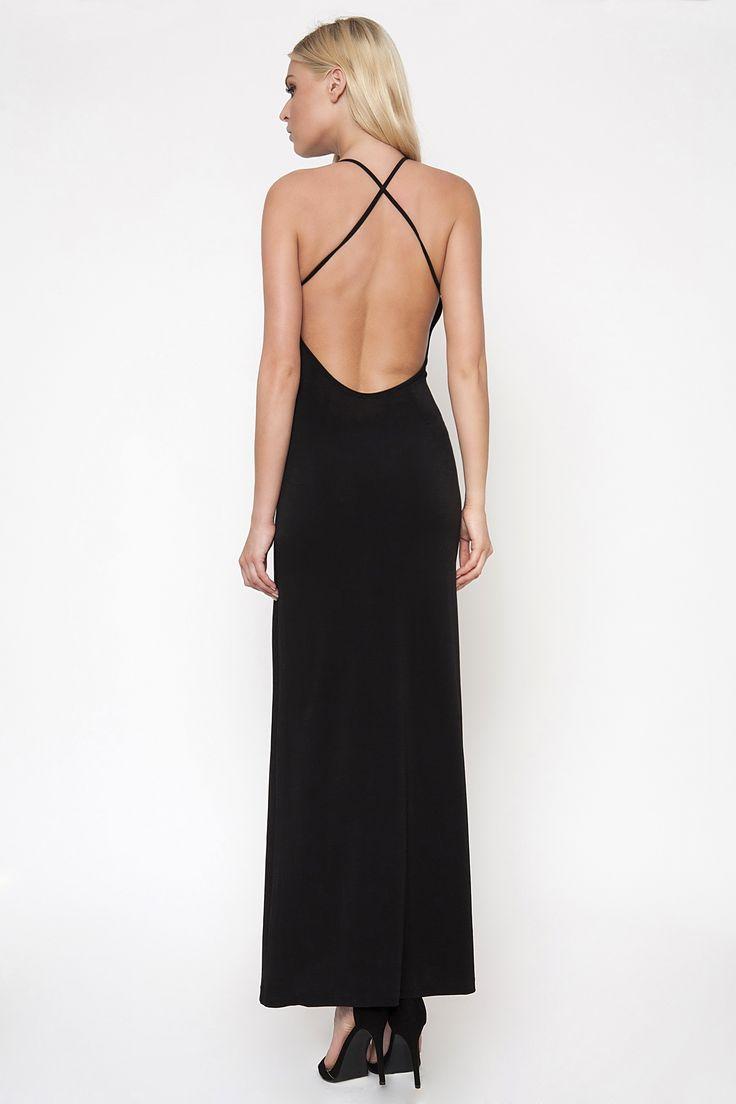 X-Strap Open Back Jersey Maxi Dress
