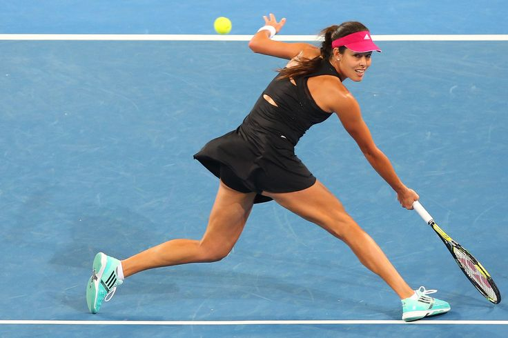 Ana Ivanovic of Serbia plays a backhand in her match against Jarmila Gajdosova of Australia during day four of the 2015 Brisbane International at Pat Rafter Arena on January 7, 2015 in Brisbane, Australia.